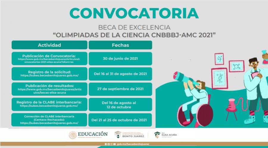 """BECA DE EXCELENCIA, """"OLIMPIADAS DE LA CIENCIA CNBBBJ-AMC 2021"""""""