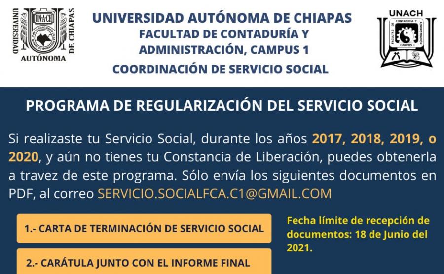 Aviso importante: Programa de regularización del servicio social
