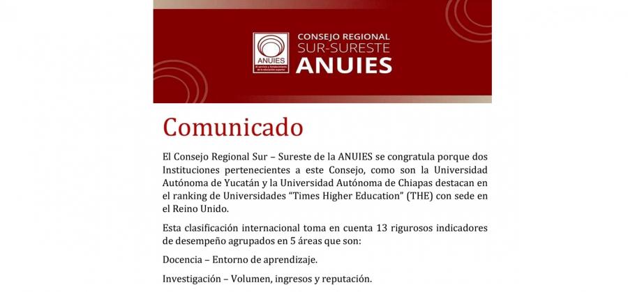 La Universidad Autónoma de Chiapas se mantiene por segunda ocasión en el ranking de universidades Times Higher Education (THE) con sede en el Reino Unido.