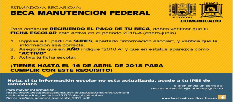 Comunicado Beca de Manutención Federal