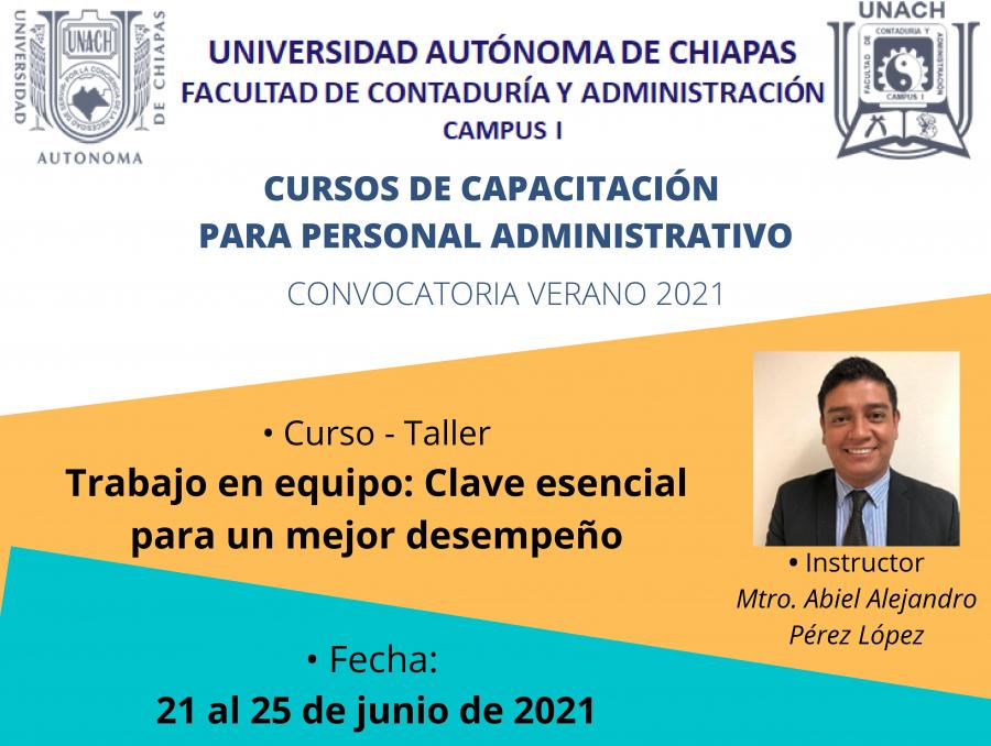 CURSOS DE CAPACITACIÓN PARA PERSONAL ADMINISTRATIVO,  CONVOCATORIA VERANO 2021
