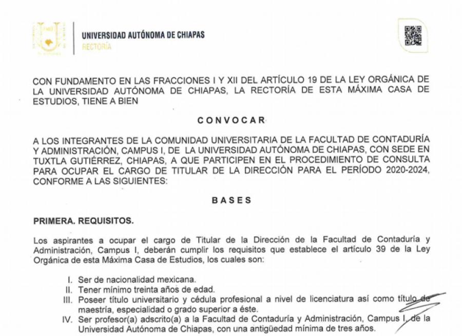 Convocatoria.-Cargo de Titular de la Dirección para el periodo 2020-2024